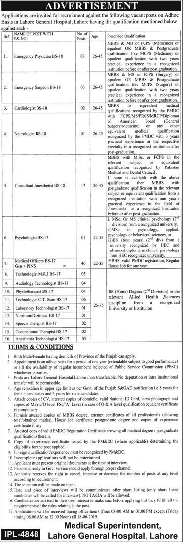 General Hospital Lahore LGH Jobs June 2019 Latest Advertisement