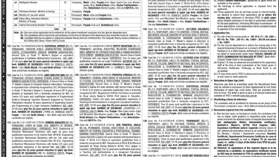FPSC Jobs 2019 Online Apply | Federal Public Service Commission Latest Advertisement