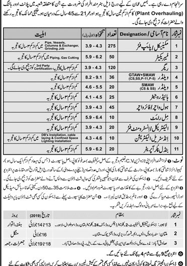 Descon Engineering Ltd jobs 2019 for Oman Shutdown Latest Advertisement