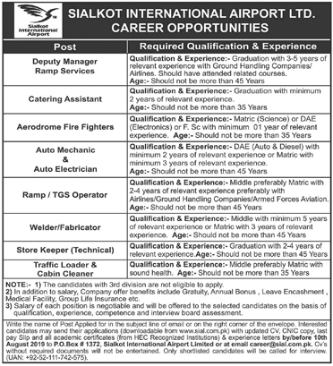 Sialkot International Airport Jobs Aug 2019 Application Form Latest