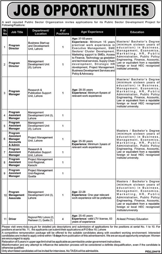 Public Sector Organization Jobs 2019 Apply Online | nbdp.org.pk