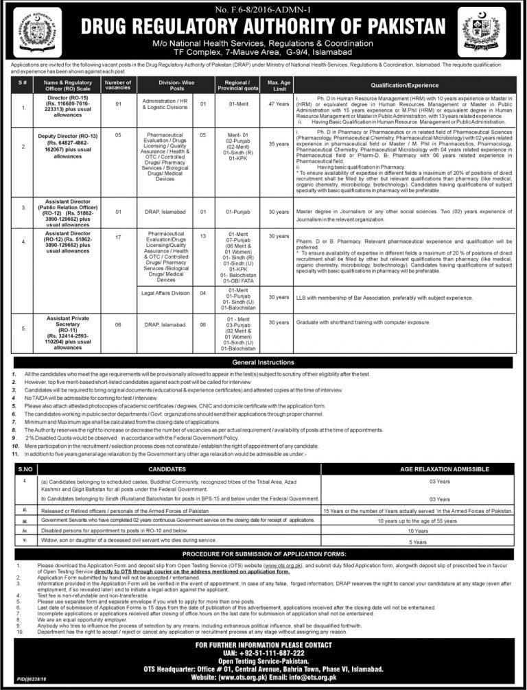 DRAP Pakistan Jobs 2019 OTS Application Form | Drug Regulatory Authority