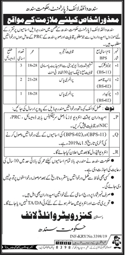 Sindh Wildlife Department Jobs July 2019 Latest Advertisement