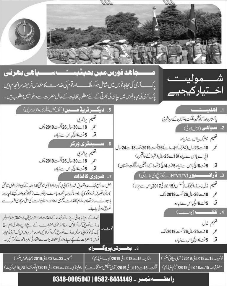 Mujahid Force Jobs 2019 Soldier Latest Advertisement Last Date