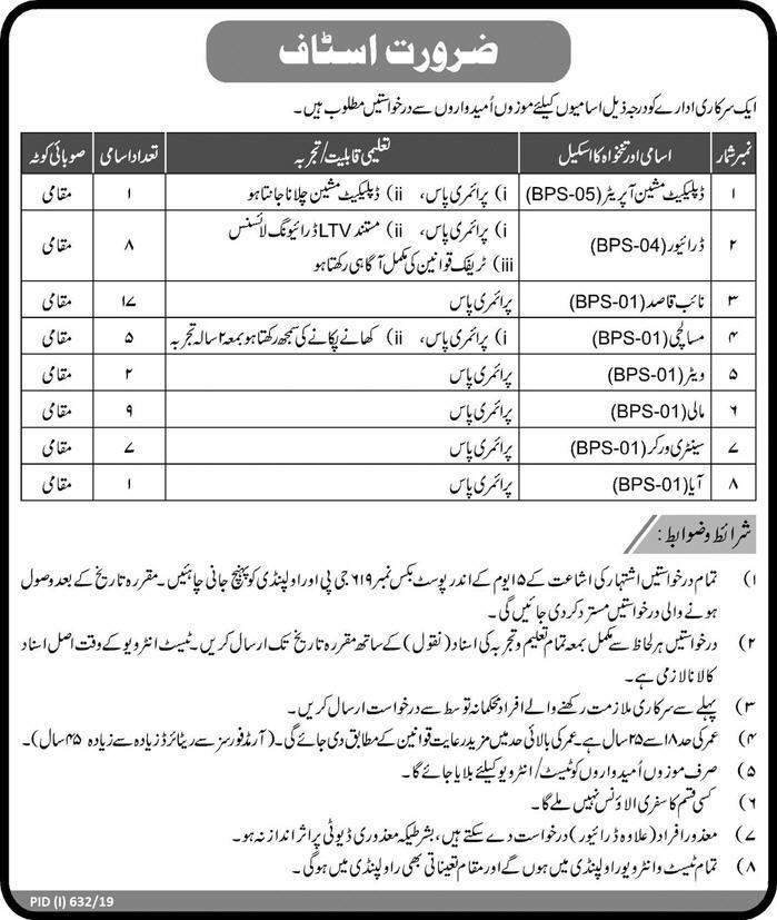 Pak Army Jobs 2019 PO Box 619 GPO Rawalpindi Latest