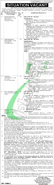 Punjab Agriculture Department Lahore Jobs 2019