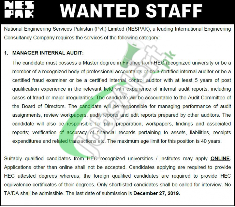 National Engineering Services Pakistan NESPAK Jobs 2019 For Manager