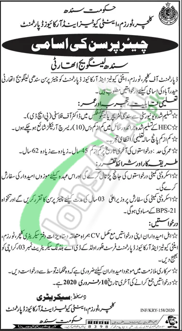 Culture Tourism & Antiquities Department Sindh Job Opportunity