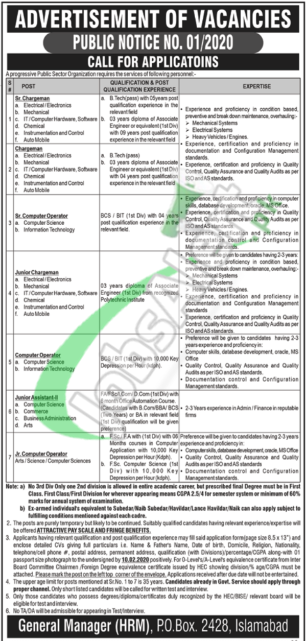 Public Sector Organization Islamabad Job Opportunities